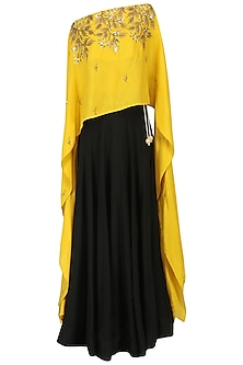 Mustard Embroidered Cape and Skirt Set