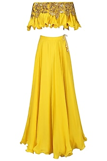 Mustard Yellow Off Shoulder Embroidered Top with Lehenga Set by Prathyusha Garimella