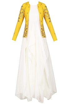 White Drape Gown with Mustard Embroidered Jacket