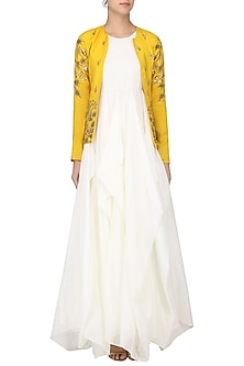 White Drape Gown with Mustard Embroidered Jacket by Prathyusha Garimella