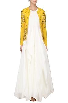 White Drape Gown with Mustard Embroidered Jacket by Prathyusha Garimella
