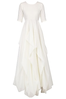 White Waterfall Drape Gown