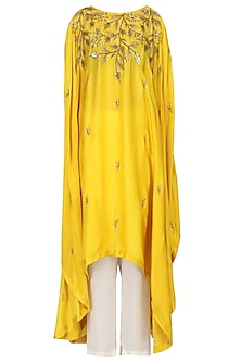 Mustard Embroidered Asymmetric Tunic with Pants Set