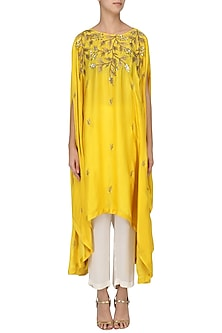 Mustard Embroidered Asymmetric Tunic with Pants Set by Prathyusha Garimella