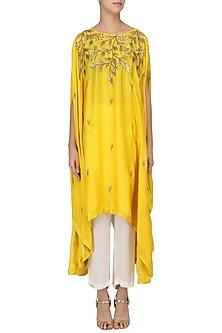 Mustard Embroidered Asymmetric Tunic with Pants Set by Prathyusha Garimella