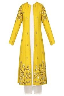 Mustard Embroidered Jacket With White Kurta and Palazzo Set