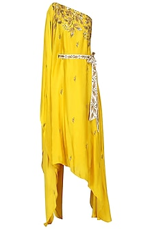 Mustard Embroidered Asymmetric Kaftan Dress by Prathyusha Garimella