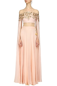 Pink Cut Work Off Shoulder Crop Top and Lehenga Skirt Set by Prathyusha Garimella
