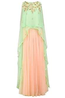 Mint Green High Low Top with Pink Lehenga Skirt by Prathyusha Garimella