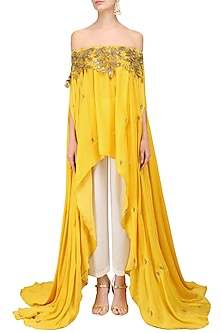 Mustard Yellow Cut Work Off Shoulder High Low Top with Palazzo Pants by Prathyusha Garimella