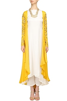 Mustard Leaf Embroidered Cape with White Kurta and Palazzo Pants by Prathyusha Garimella