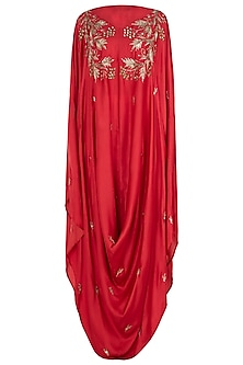 Red Embellished Cowl Cape with White Palazzo Pants
