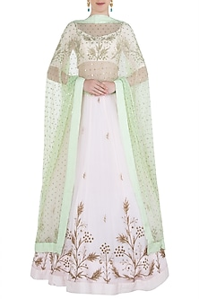 Pink and Green Embroidered Lehenga Set by Prathyusha Garimella