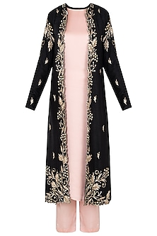 Black Cut Work Jacket with Pink Kurta and Palazzo Pants