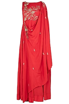 Red Embellished Cape Dress