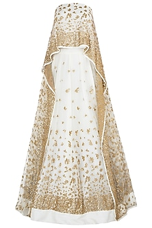 Off White Embellished Lehenga with Cape Blouse