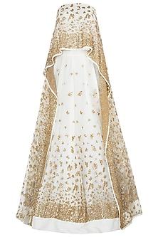 Off White Embellished Lehenga with Cape Blouse by Prathyusha Garimella