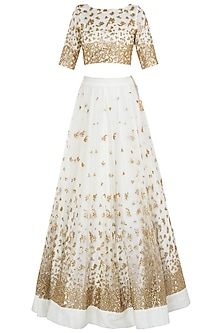 Off White Embellished Lehenga Set