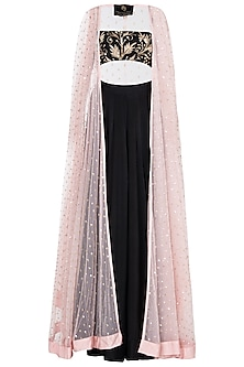 Pink Sequin Embellished Cape with Black Bralet and Skirt