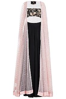 Pink Sequin Embellished Cape with Black Bralet and Skirt by Prathyusha Garimella