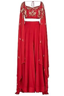 Red Crop Top with Skirt by Prathyusha Garimella