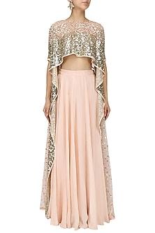 Pink Embroidered High Low Top and Lehenga Skirt by Prathyusha Garimella