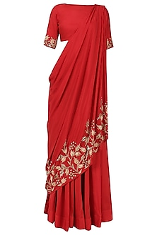 Red Embroidered Drape Lehenga Set by Prathyusha Garimella
