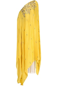Mustard Embroidered Asymmetrical Top and Palazzo Set