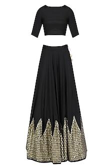 Black Chevron Sequins Embroidered Lehenga Set