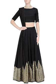 Black Chevron Sequins Embroidered Lehenga Set by Prathyusha Garimella
