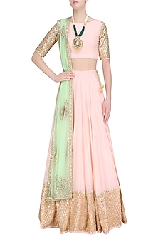 Pink Sequins Embroidered Lehenga Set with Mint Green Dupatta by Prathyusha Garimella
