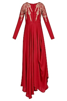 Red Sequins and Zari Embroidered Cowl Kurta