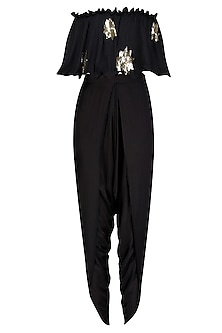 Black Star Motifs Off Shoulder Top and Dhoti Pants Set by Prathyusha Garimella