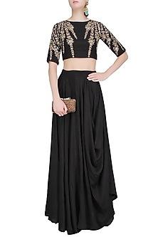 Black Embroidered Crop Top and Cowl Skirt Set by Prathyusha Garimella