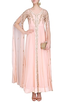 Pink Embroidered Cape Sleeves Jacket with Inner Gown by Prathyusha Garimella