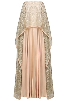Pale Pink And Gold Beads Embroidered Tube Cape Gown by Prathyusha Garimella