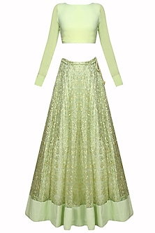 Mint Green And Gold Leaves Pattern Sequins And Zari Embroidered Lehenga Set