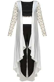 White Triangular Motifs Jacket With Black Crop Top And Dhoti Pants
