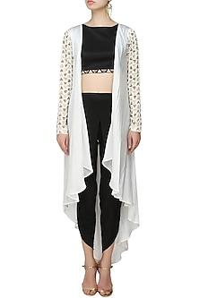 White Triangular Motifs Jacket With Black Crop Top And Dhoti Pants by Prathyusha Garimella