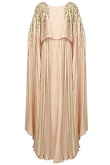 Pale Pink And Gold Leaves Gota Patti And Sequins Work Cape Gown