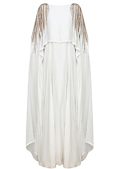 White And Gold Leaves Beads Embroidered Cape Gown by Prathyusha Garimella