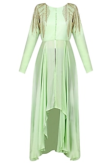 Mint Green And Gold Leaves Beads Embroidered Hgih Low Mid Slit Cape
