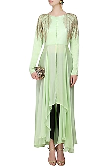 Mint Green And Gold Leaves Beads Embroidered Hgih Low Mid Slit Cape by Prathyusha Garimella