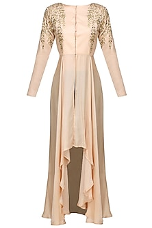 Pale Pink And Gold Gota Patti Work High Low Cape