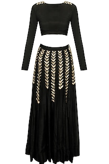 Black ferns embellished crop top and lehenga skirt