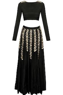 Black ferns embellished crop top and lehenga skirt by Prathyusha Garimella