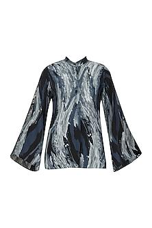 Cyclone Printed Slit Sleeve Shirt by Priyanka Gangwal