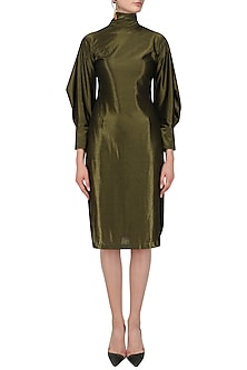 Metallic Mustard Drop Back Slit Dress by Priyanka Gangwal