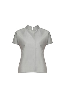 Ice Grey Chinese Collar Shirt Jacket     by Priyanka Gangwal
