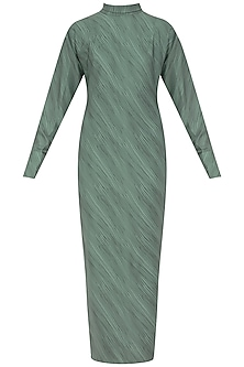 Teal Hairline Print Maxi Dress